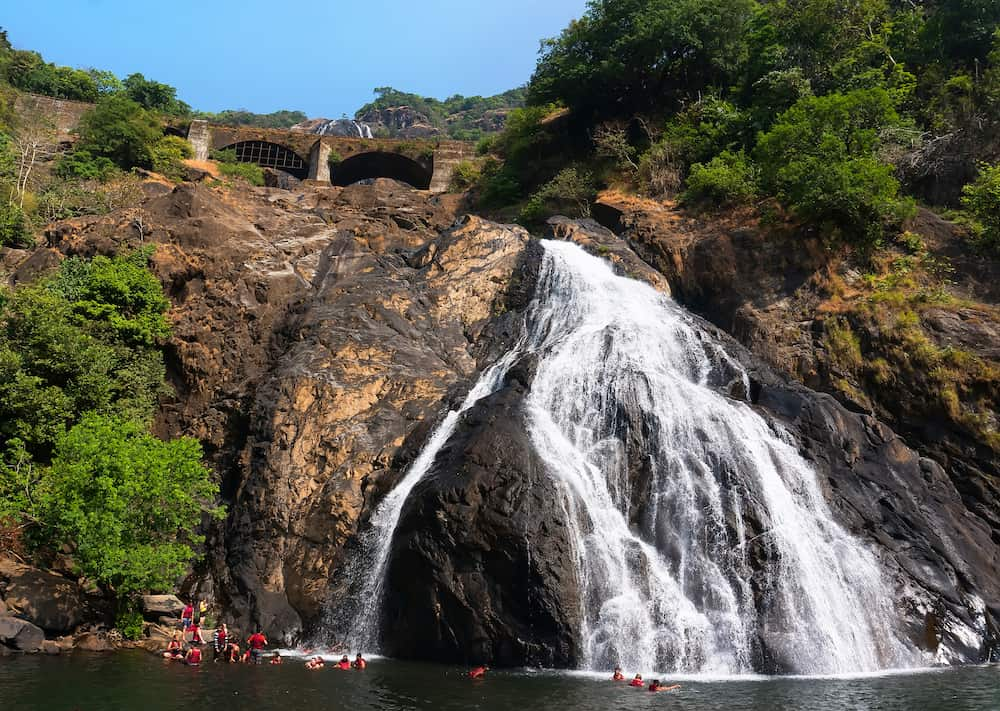 Beautiful view of the Dudhsagar waterfall in Goa India