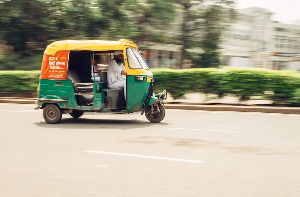 New Delhi, India -Moto-Rickshaw in motion, New Delhi, India in New Delhi, India.