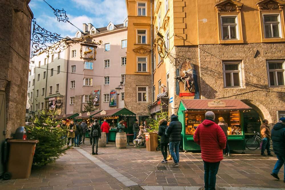 INNSBRUCK, AUSTRIA - Christmas market in the famous tale street of Innsbruck in Tyrol, Austria