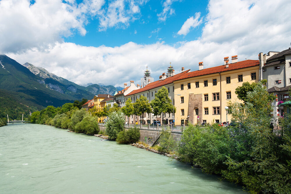 INNSBRUCK, AUSTRIA - Street view of downtown in Innsbruck, Austria view of Buildings around Innsbruck, Austria