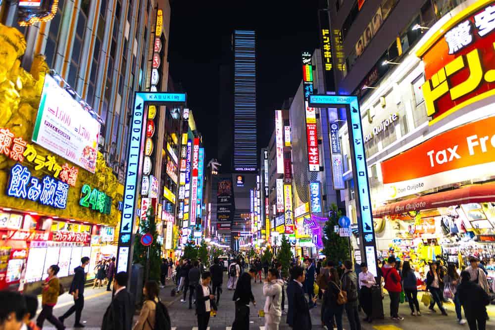 Tokyo, Kabukicho Famous place in Shinjuku Tokyo Japan , entertainment , bar and restaurant zone
