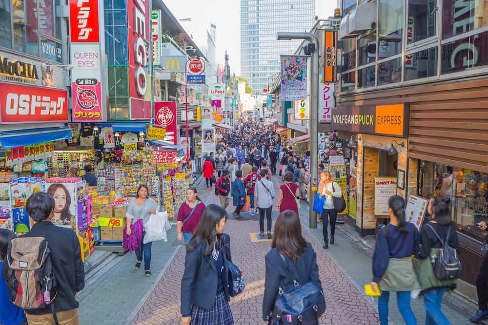 Street in HARAJUKU Tokyo, Japan : Takeshita Street is the famous fashion shopping street next to HARAJUKU Station
