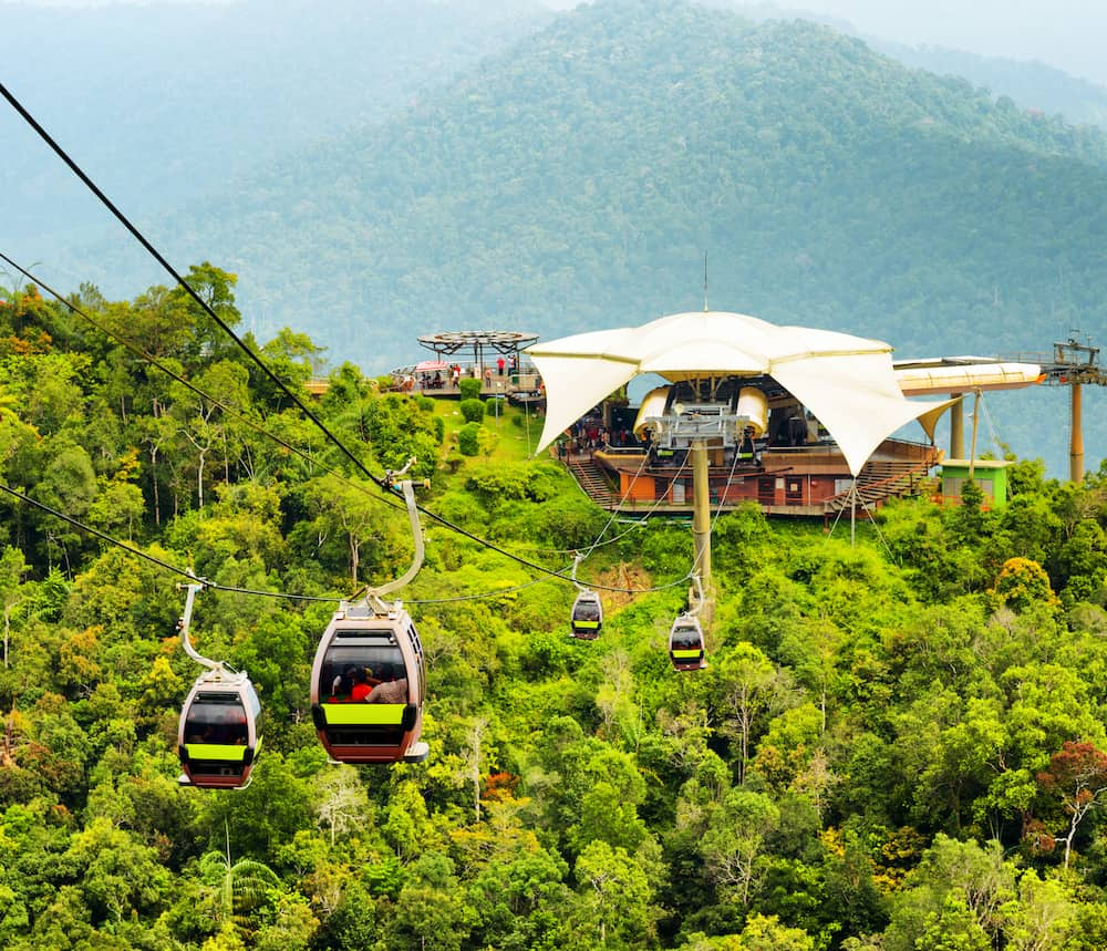 Amazing view of cable car on Langkawi Island Malaysia.