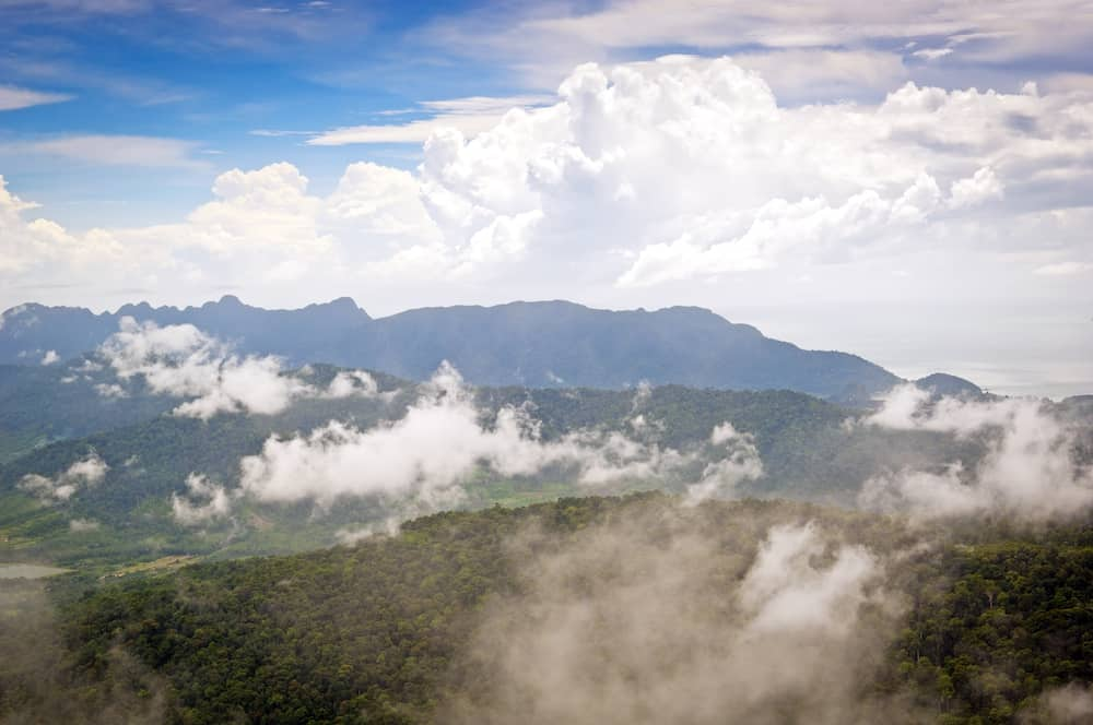 Majestic views of mist and forest on Langkawi Island Malaysia