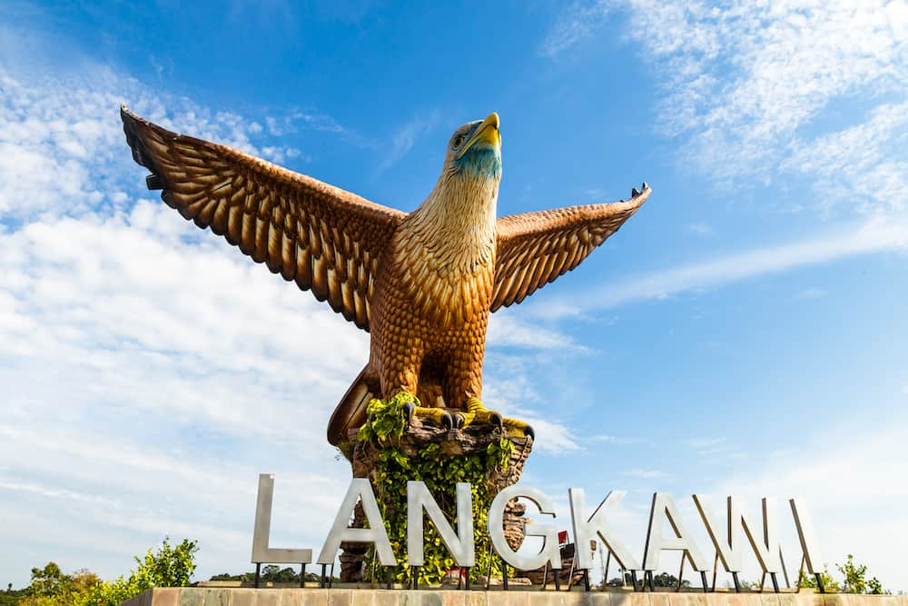 Langkawi, Malaysia - Eagle Square in Langkawi, near the Kuah port, in late afternoon light. This giant Eagle statue is the symbol of Langkawi island, Malaysia