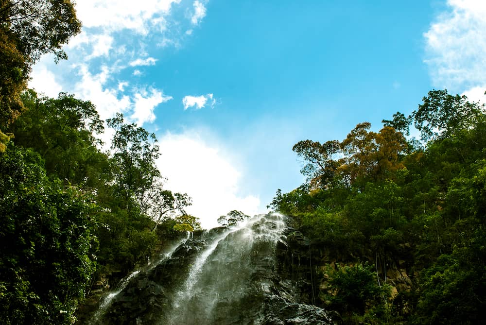 Langkawi, Malaysia waterfall and blue sky afteroon