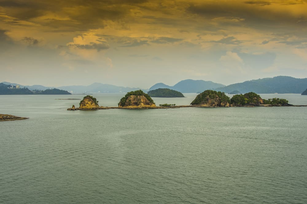 Panoramic of the Langkawi archipelago declared World Geo park by UNESCO in the Strait of Malacca in the Sea of Andaman Malaysia