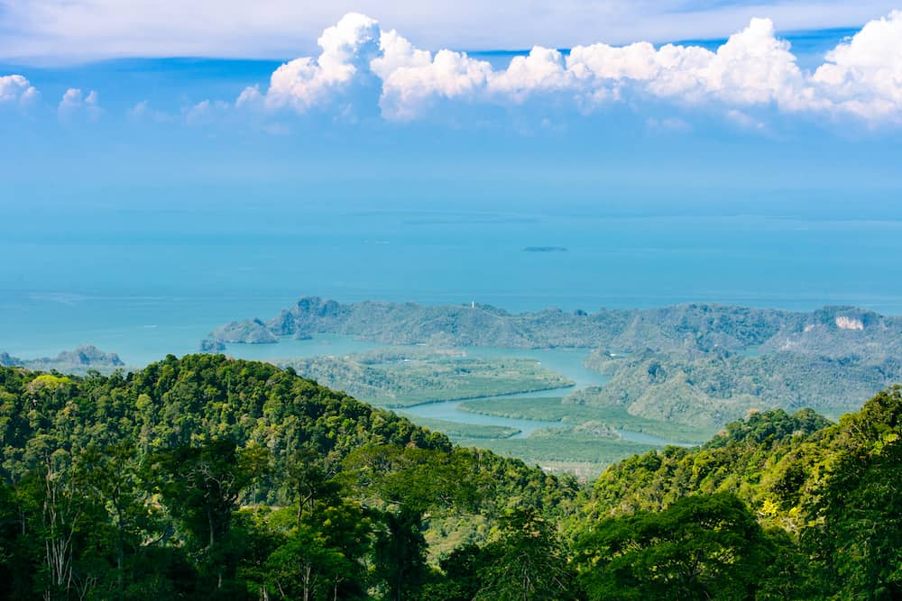 Langkawi landscape of delta of river, tropical island in Asia, Malaysia