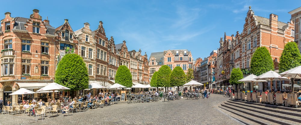 LEUVEN,BELGIUM - At the Oude Markt place of Leuven. Leuven is located about 25 kilometres east of Brussels.