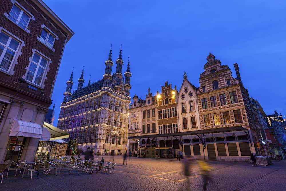 Leuven City Hall on Grote Markt. Leuven Flemish Region Belgium.
