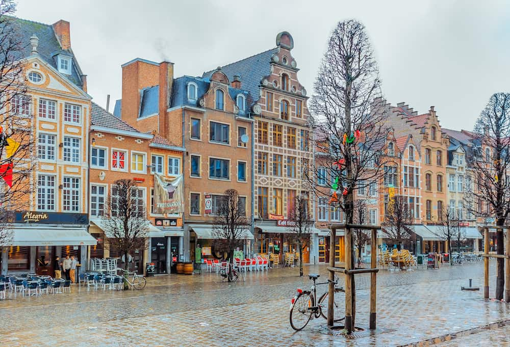 Leuven Belgium - Row of beautiful buildings on Oude Markt (Old Market Square) the longest bar in the world