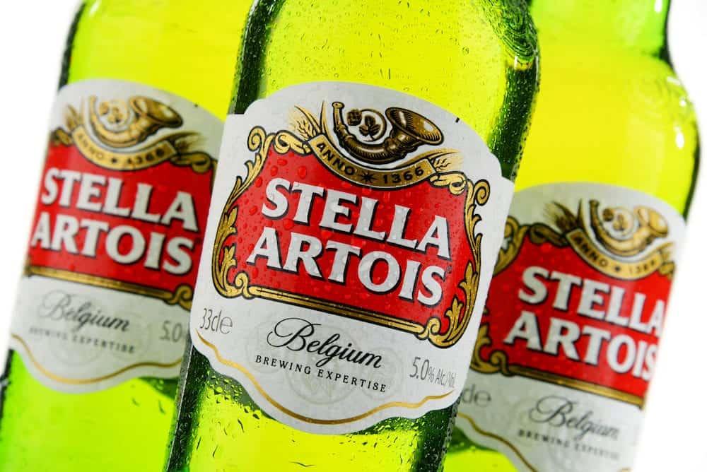 POZNAN POLAND - Stella Artois prominent brand of Anheuser-Busch InBev is a pilsner brewed in Leuven Belgium since 1926