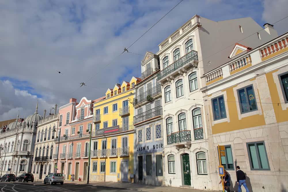 LISBON, PORTUGAL - Colorful facades at Principe Real square in Bairro Alto neighborhood