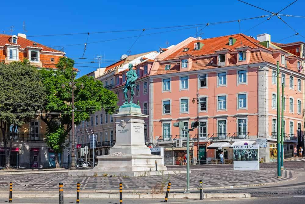 Lisbon, Portugal. Duque da Terceira Square with the statue of the duke, in Cais do Sodre. A well known Lisbon nightlife spot.