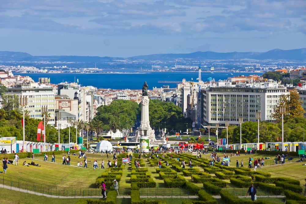 LISBON PORTUGAL - Eduardo VII Park public park in center of Lisbon city Portugal. The park occupies an area of 26 hectares to the north of the Avenida da Liberdade