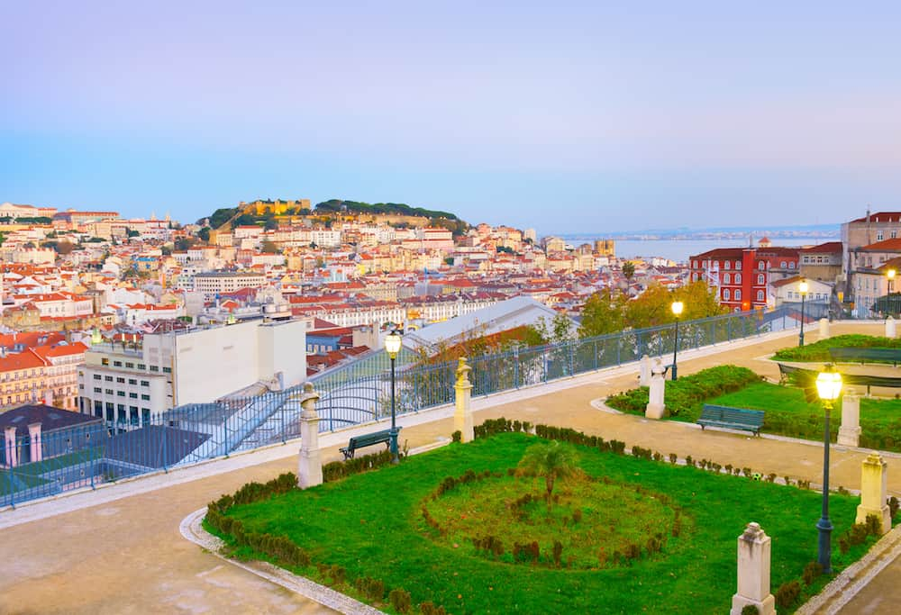 Skyline of Lisbon from Sao Pedro de Alcantara viewpoint. Portugal