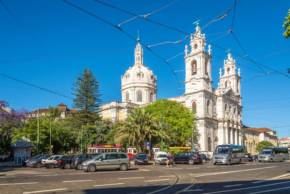 LISBON,PORTUGAL - - View at the Basilica da Estrela in the streets of Lisbon. Lisbon is the capital of Portugal.
