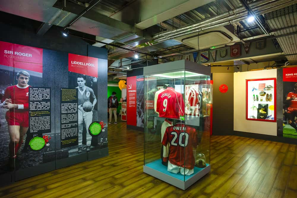 LIVERPOOL, UNITED KINGDOM - : The Liverpool FC Story is the museum that dedicated to stars of the past to present, player profiles and videos of LFC heroes in action in historic moments