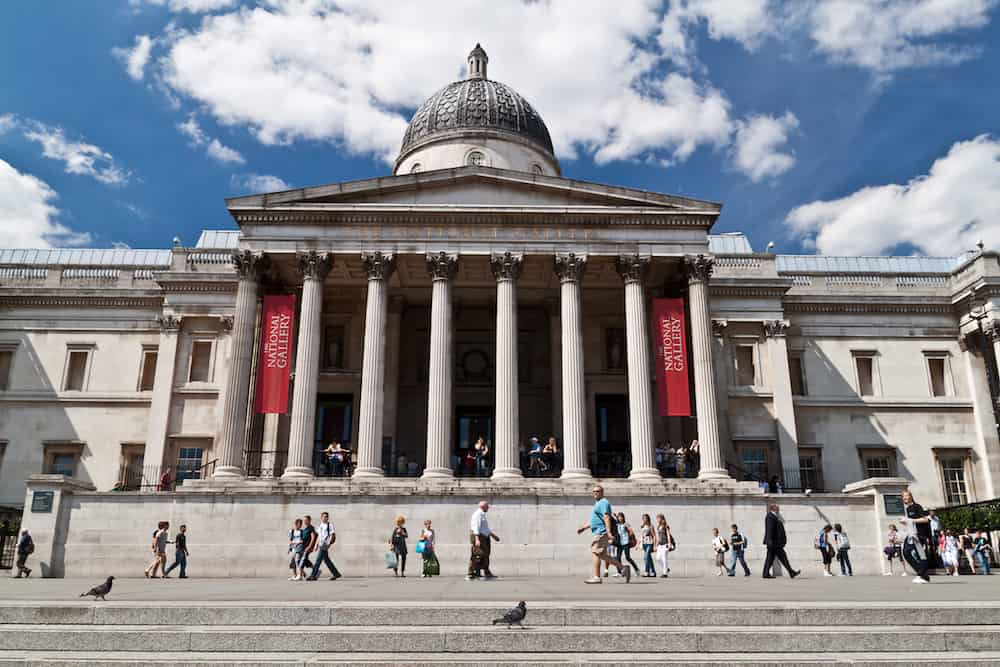 LONDON -People visit the National Gallery.The Gallery houses a rich collection of over 2,300 paintings dating from the mid-13th century to 190 in its home on Trafalgar Square