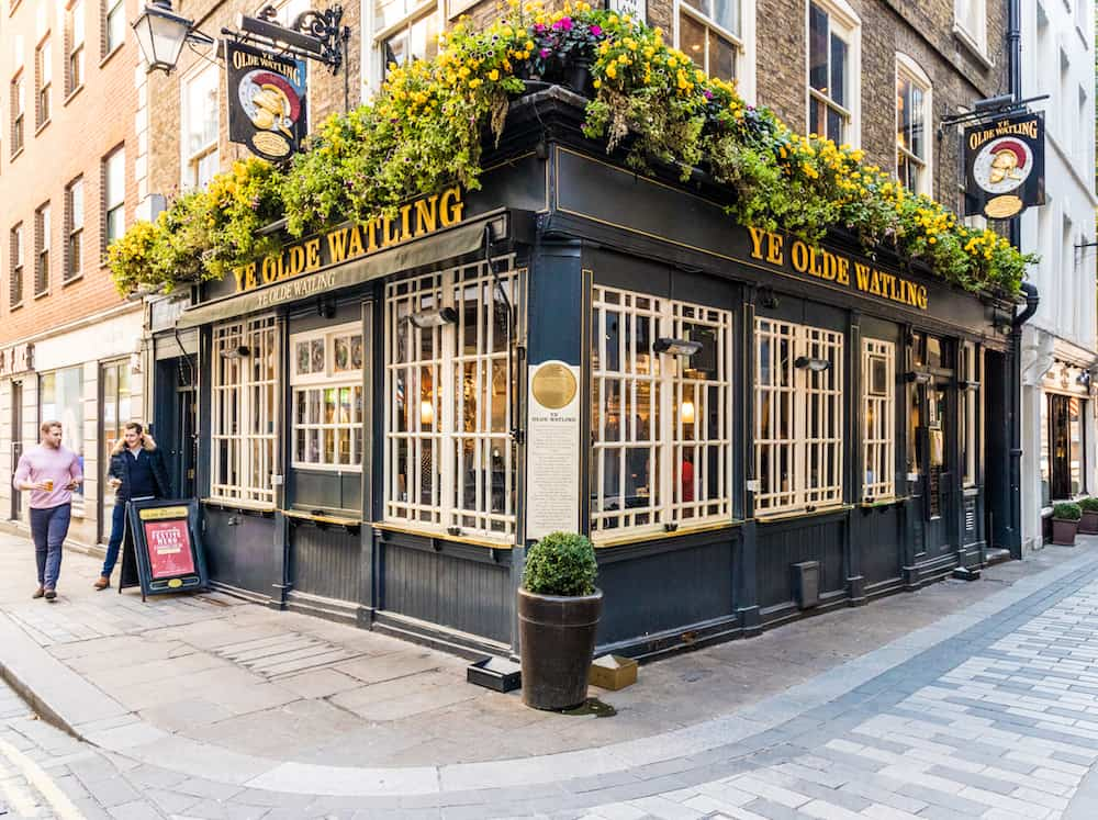 London. Ye Olde watling pub in the City of London in London