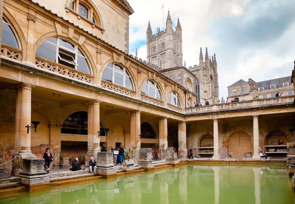 BATH, UK - VIsitors at Roman Baths Great Bath