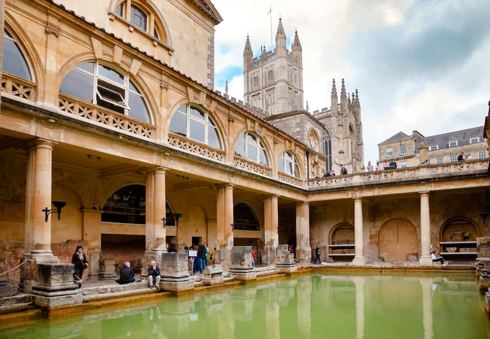 BATH, UK - VIsitors at Roman Baths Great Bath