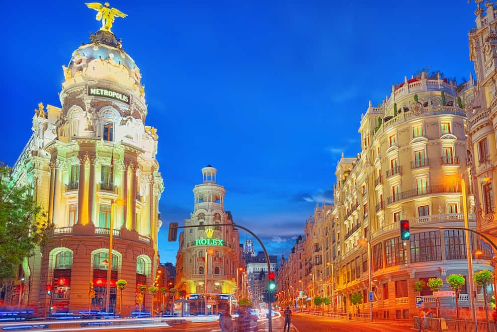 Madrid Spain - : Gran Via Street in Madrid after sunset traffic lights on Gran Via main shopping and financial street in Madrid at night.