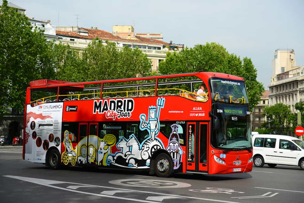 MADRID - Madrid City Tour Bus on the road, Madrid, Spain.