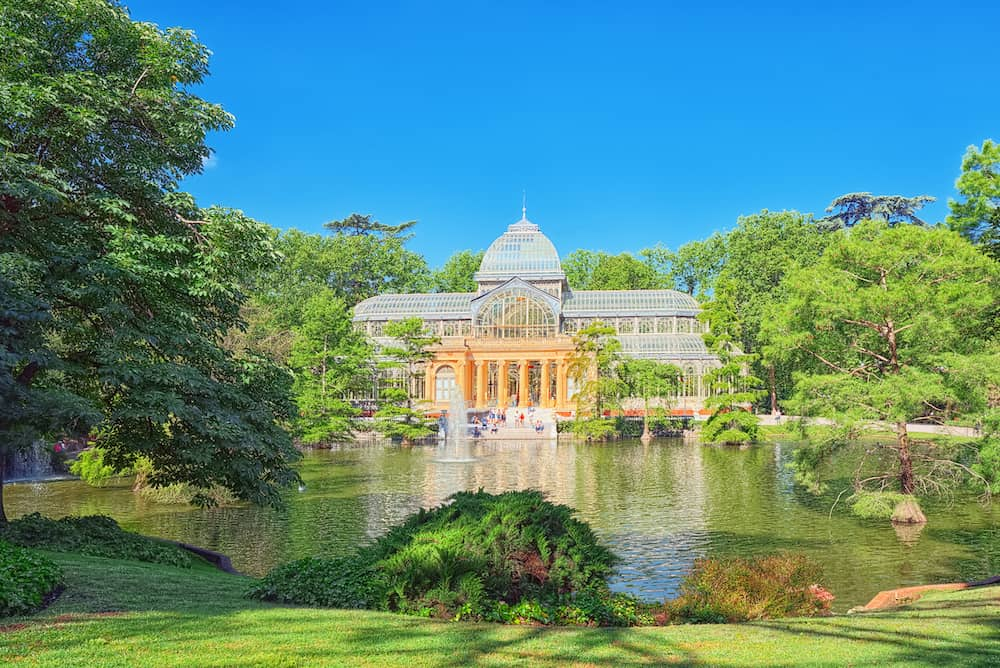 Madrid Spain - :Crystal Palace (Palacio de Cristal) in Buen Park del Retiro (Parque de El Retiro) in Madrid Spain.