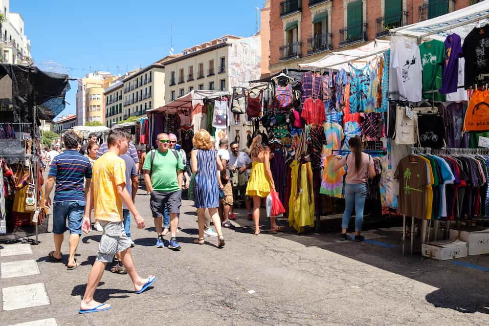 MADRID,SPAIN - : People shopping at El Rastro, the most popular open air market in Madrid