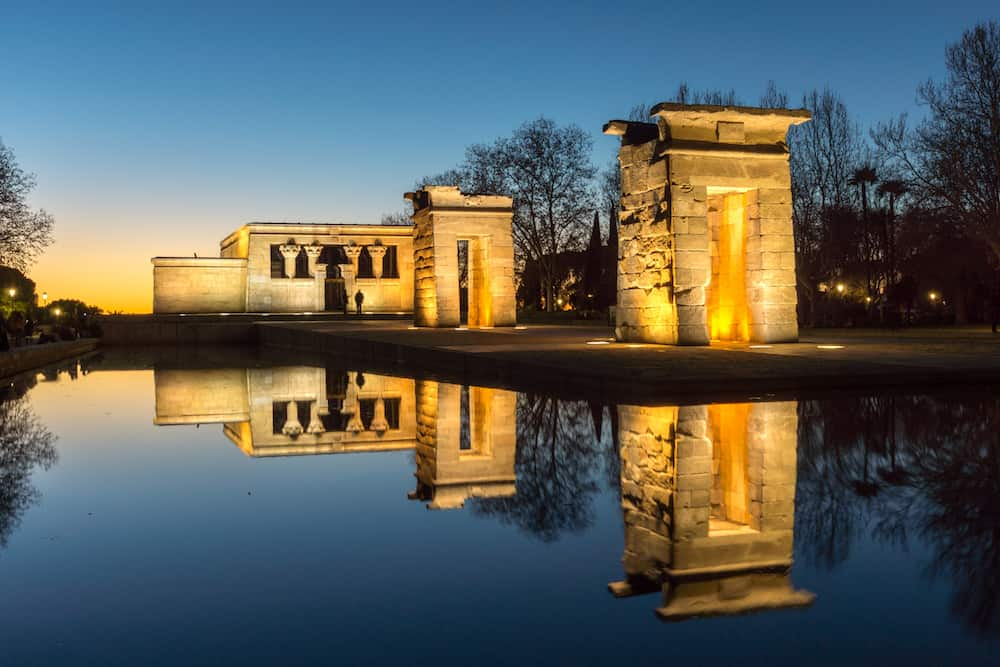 MADRID, SPAIN - Sunset view of Temple of Debod in City of Madrid, Spain