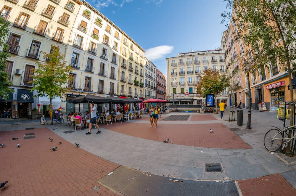 MADRID, SPAIN - Urban scene, daytime view of Chueca square located in the lively neighborhood of Chueca in downtown Madrid, Spain