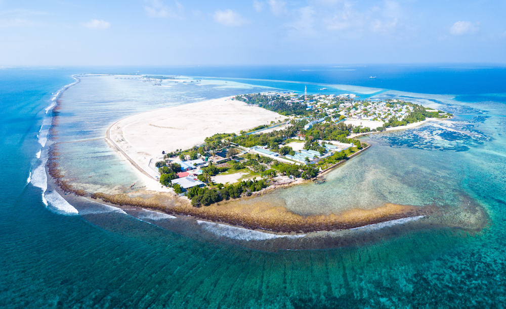 Aerial view of the island of Himmafushi, Maldives