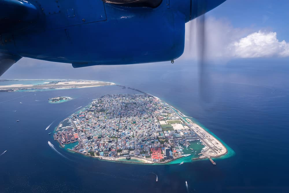 View of Male the capital city of Maldives from seaplane