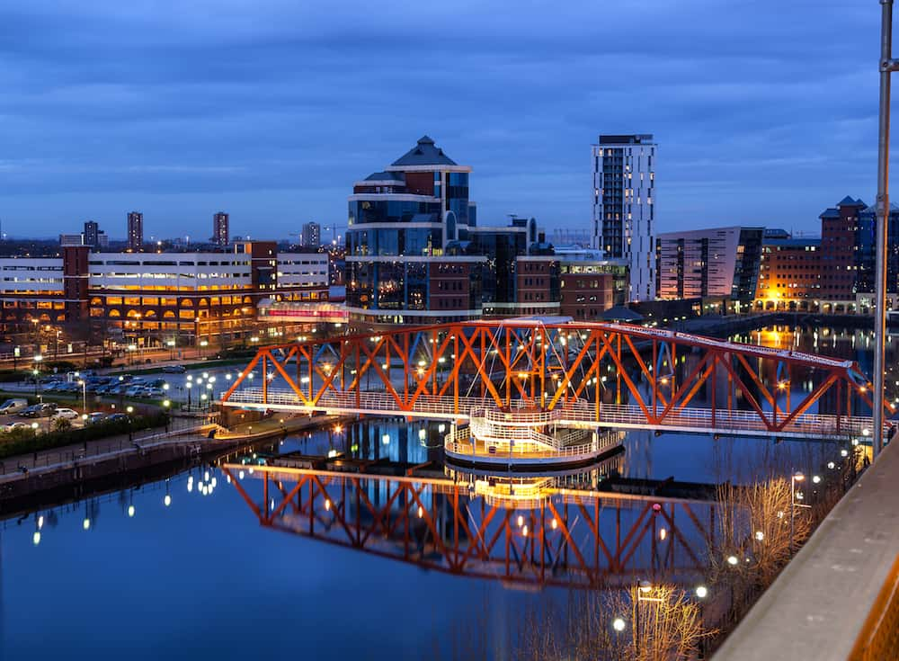 Salford Quays skyline in the Greater Manchester England.