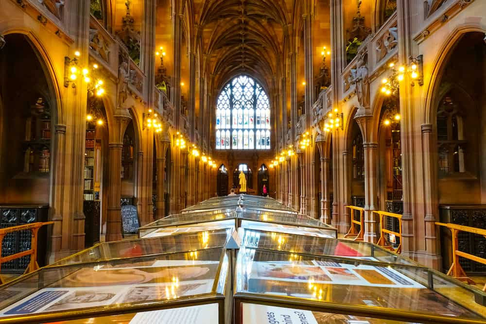 Manchester, UK - John Rylands Library built in 1988 by Enriqueta Rylands, his wife after John's death, it's opened to public in 1900. The library houses some 4 millions invaluable books