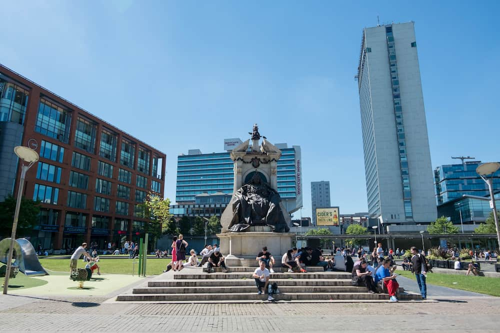 Manchester, England Piccadilly Gardens is a green space in Manchester city centre, between Market Street and the edge of the Northern Quarter in Manchester, England