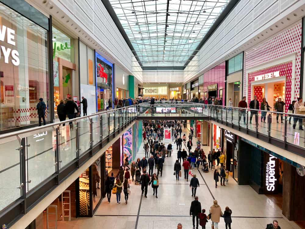 MANCHESTER - Chain brand retail outlets across two levels at The Manchester Arndale shopping centre in Manchester, England, UK.
