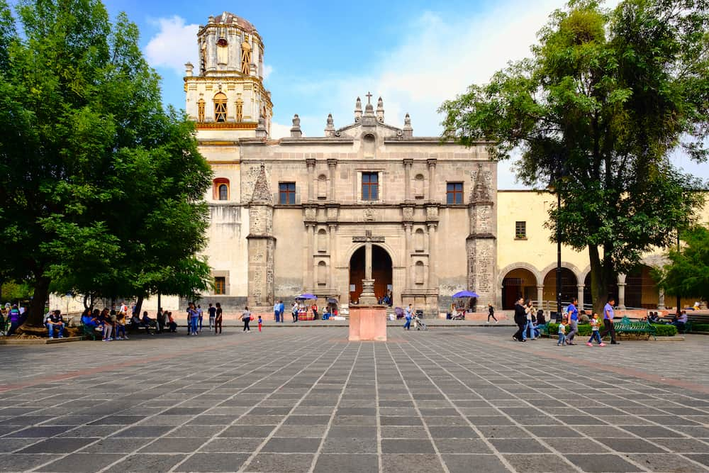 MEXICO CITY,MEXICO - : Colonial church at the historic neighborhood of Coyoacan in Mexico City