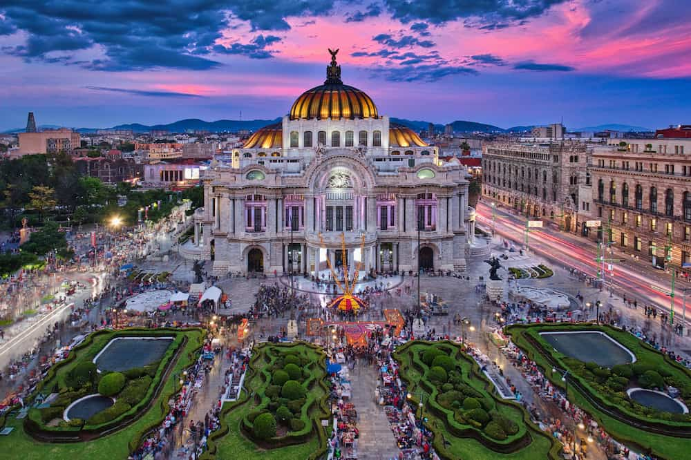 The Palacio Of Bellas Artes At The Sunset Time