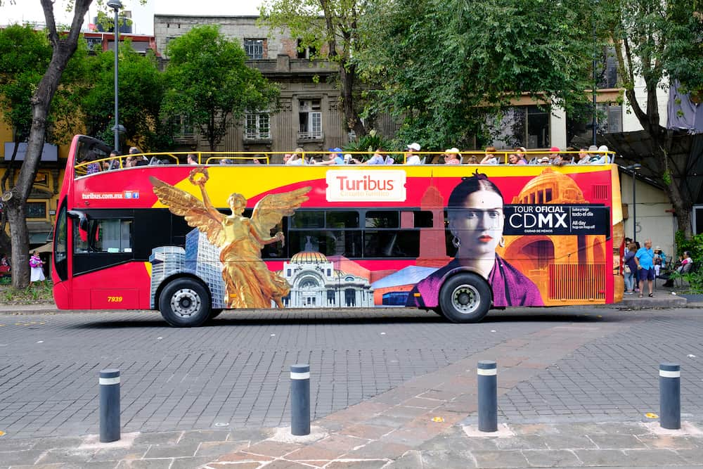 MEXICO CITY,MEXICO - Touristic hop on-hop off bus in Mexico City