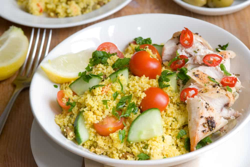 Freshly made chicken tabbouleh in a bowl