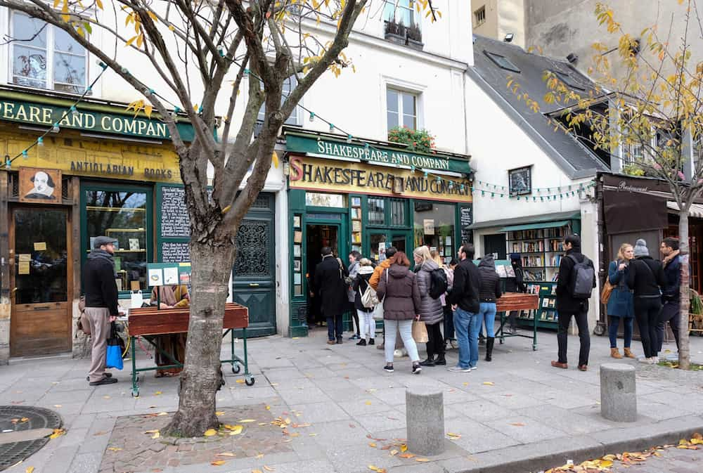 Paris, France -Facade of the Shakespeare and company bookshop, store in Paris, France.