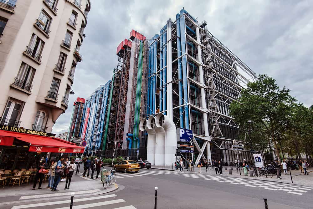 Paris, France - Georges Pompidou center building - Paris national cultural centre and museum in Marais district. Industrial-looking exterior with colored pipes and ducts.