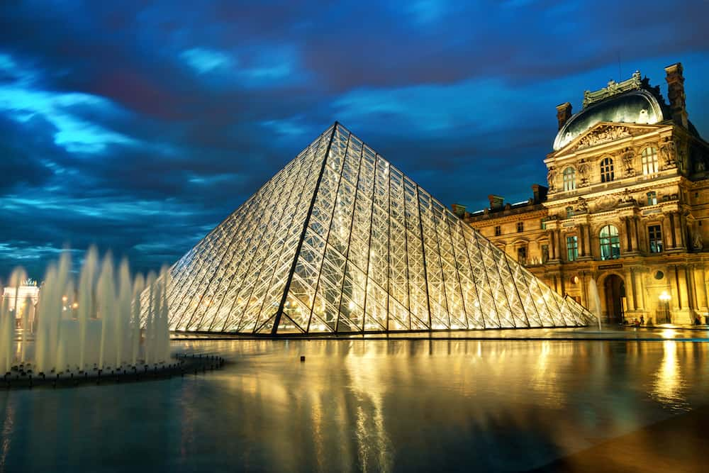PARIS - Louvre museum at night in Paris. The Louvre is one of the largest museums in the world and one of the major tourist attractions of Paris.