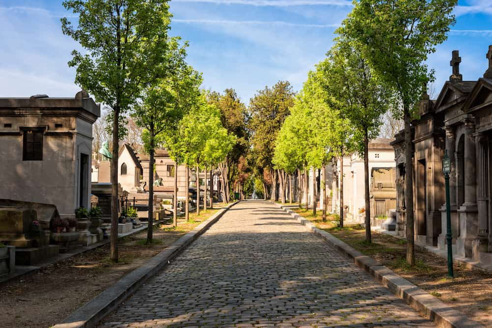 Paris France - View of Pere Lachaise cemetery the first garden cemetery in Paris world's most visited cemetery.