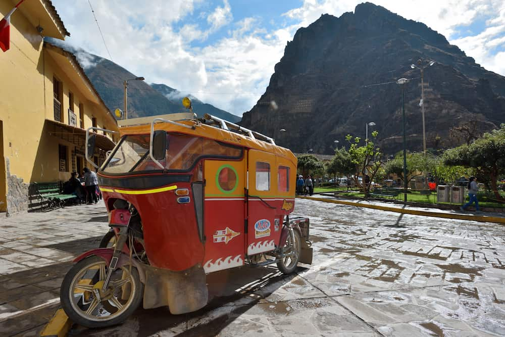 OLLANTAYTAMBO PERU - Auto rickshaw on parking in Ollantaytambo Peru. Ollantaytambo is a town and an Inca archaeological site in southern Peru.