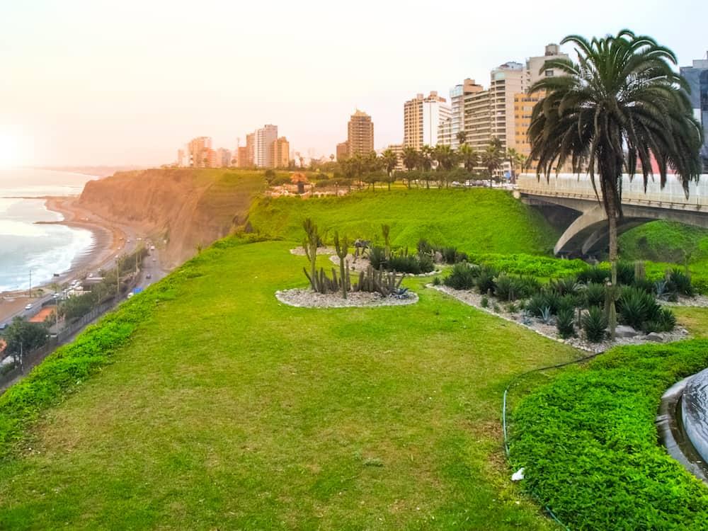 Green park of Miraflores in Lima, Peru.
