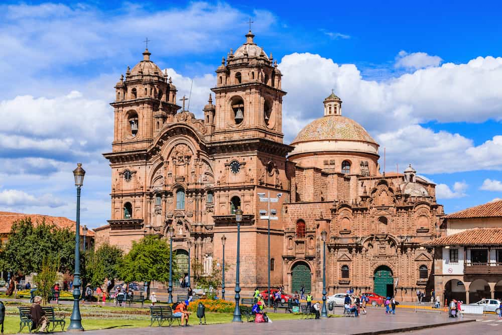 CUSCO, PERU - Cusco, Peru - Plaza de Armas and Church of the Society of Jesus.