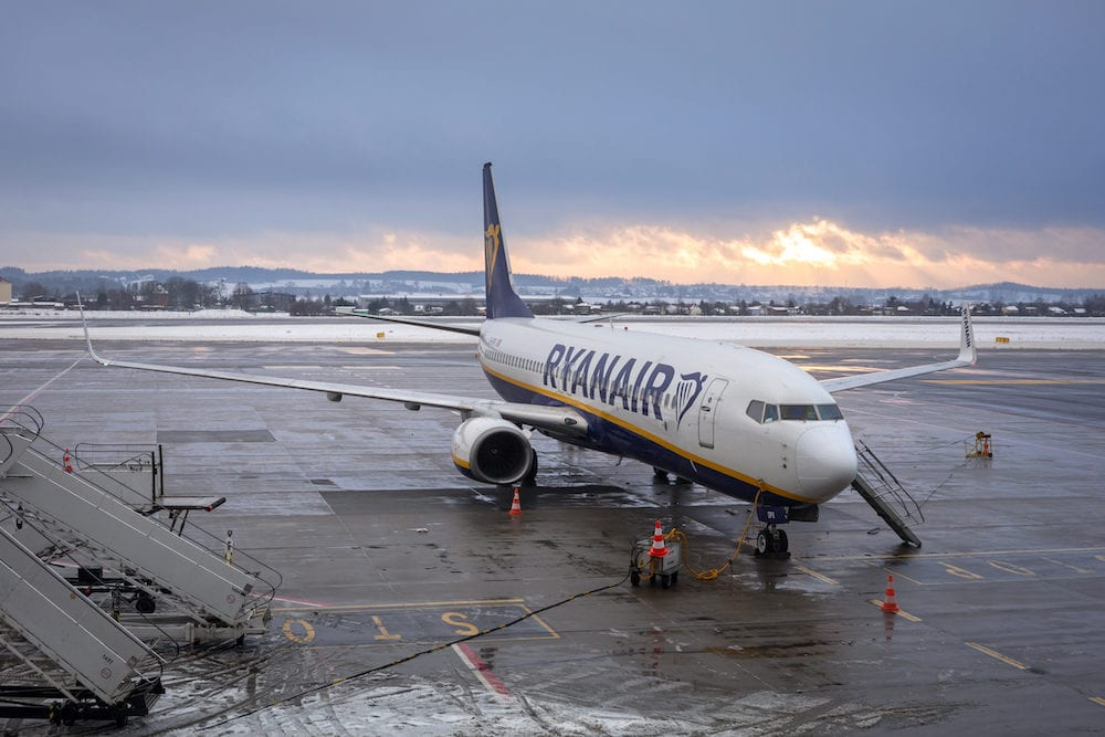 : Preparing for boarding to Ryanair plane on Lech Walesa Airport in Gdansk. Ryanair operates over 300 aircraft and is the biggest low-cost airline company in Europe